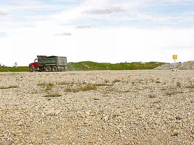 Gravel Truck Passing Close to a Patch of Long's Braya at Yankee Point